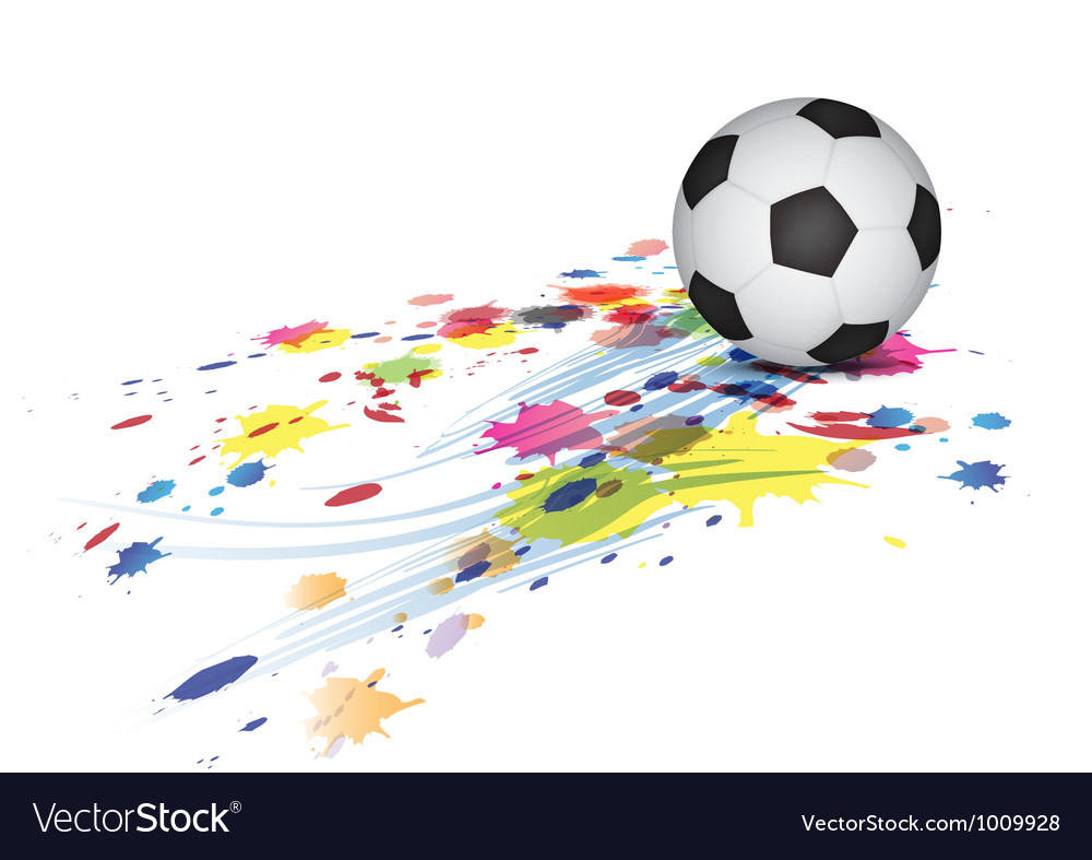 Soccer ball and ink splatter background vector | Price: 1 Credit (USD $1)