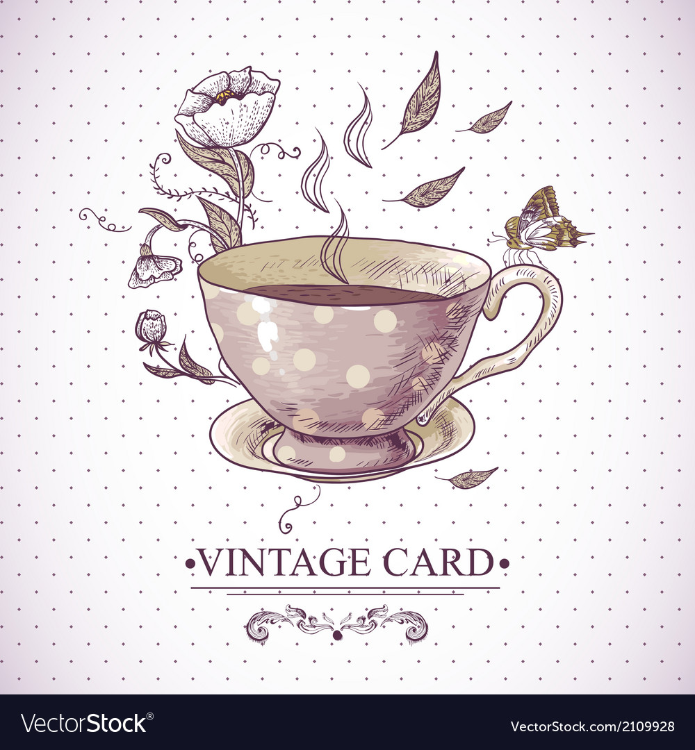 Vintage card with cup flowers and butterfly vector | Price: 1 Credit (USD $1)
