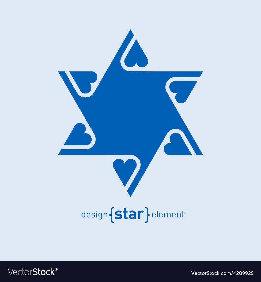 Abstract design element blue david star with vector | Price: 1 Credit (USD $1)