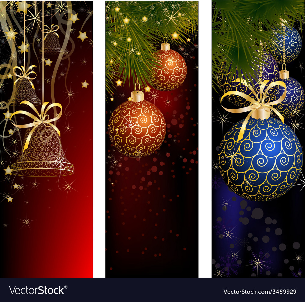 Christmas website banner set decorated with xmas vector | Price: 3 Credit (USD $3)