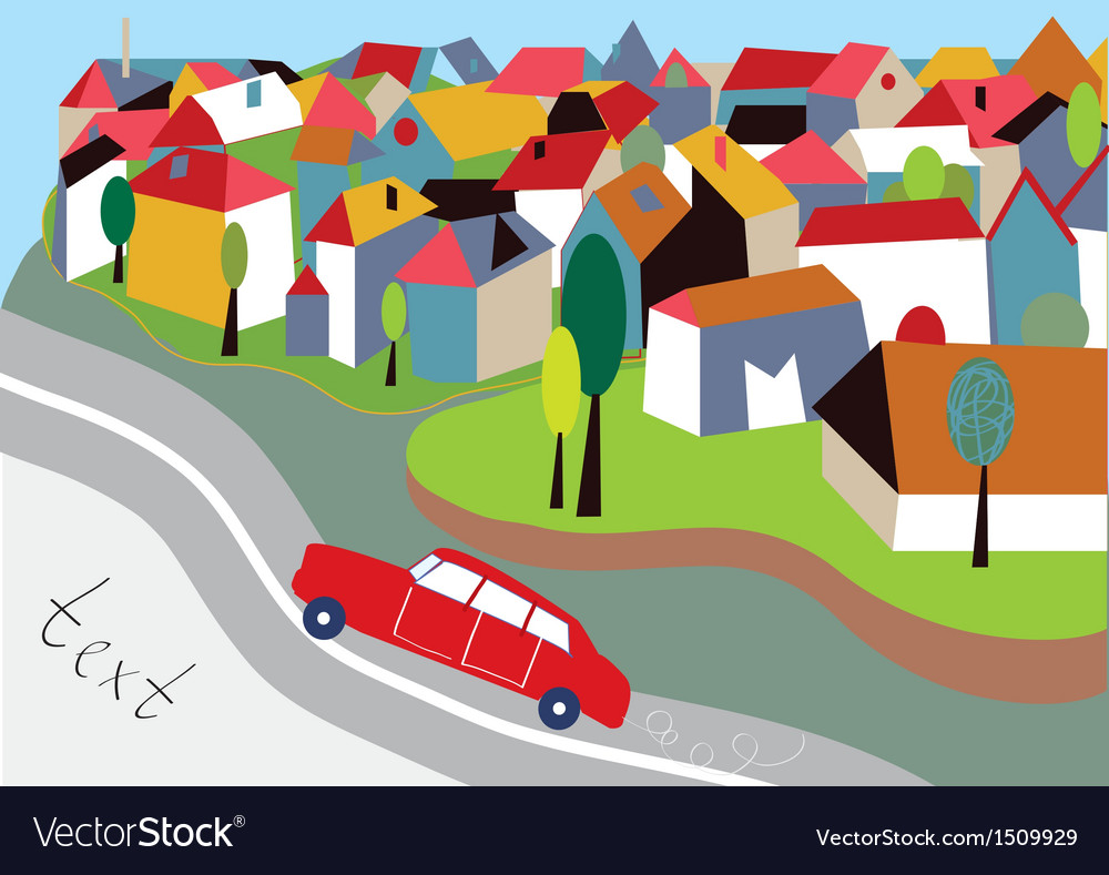 City background with street and car vector | Price: 1 Credit (USD $1)