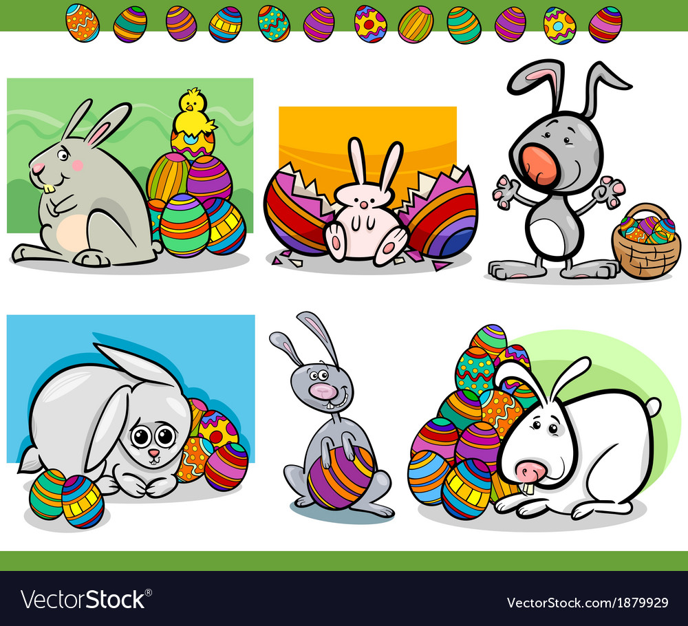 Easter themes set cartoon vector | Price: 1 Credit (USD $1)