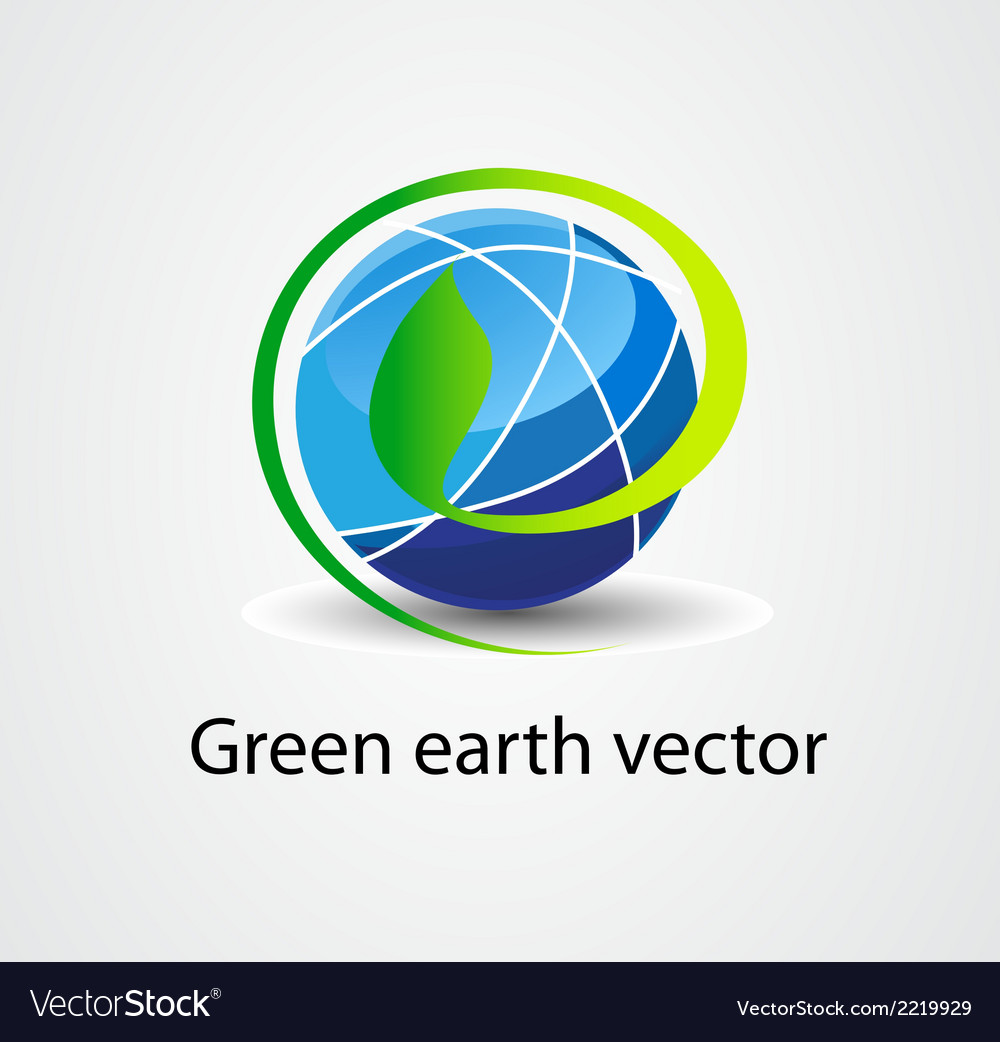 Eco green earth stock logo icon vector | Price: 1 Credit (USD $1)