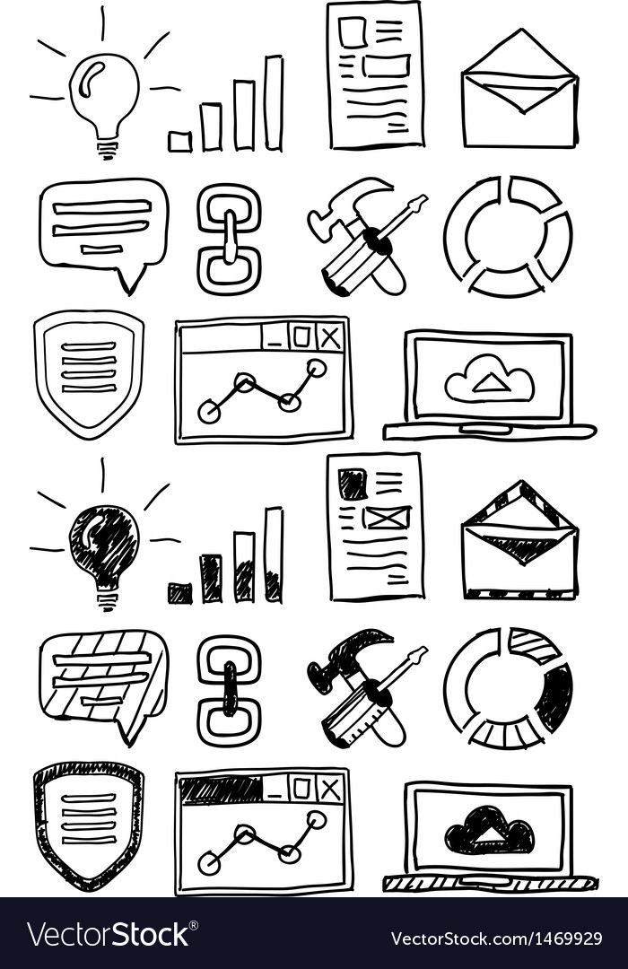 Hand drawn seo doodles  icon set vector | Price: 1 Credit (USD $1)