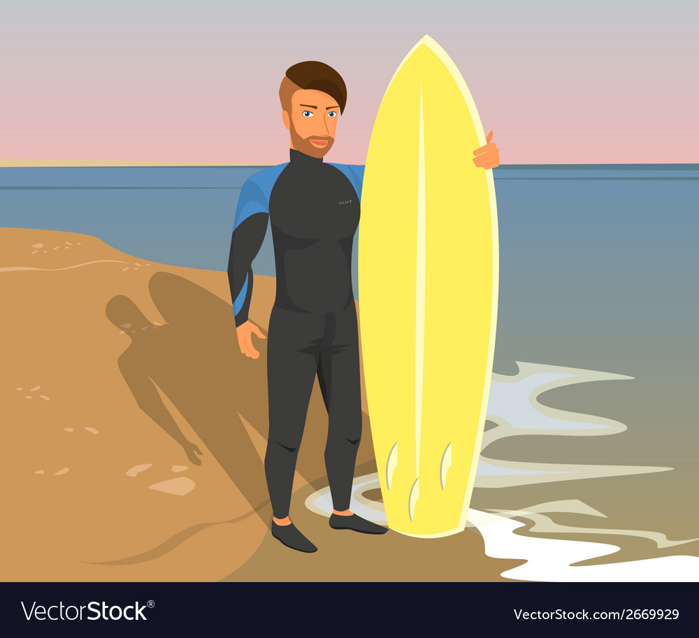 Hipster guy wearing diving suit with yellow vector | Price: 1 Credit (USD $1)