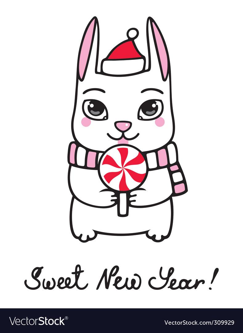 New year bunny vector | Price: 1 Credit (USD $1)