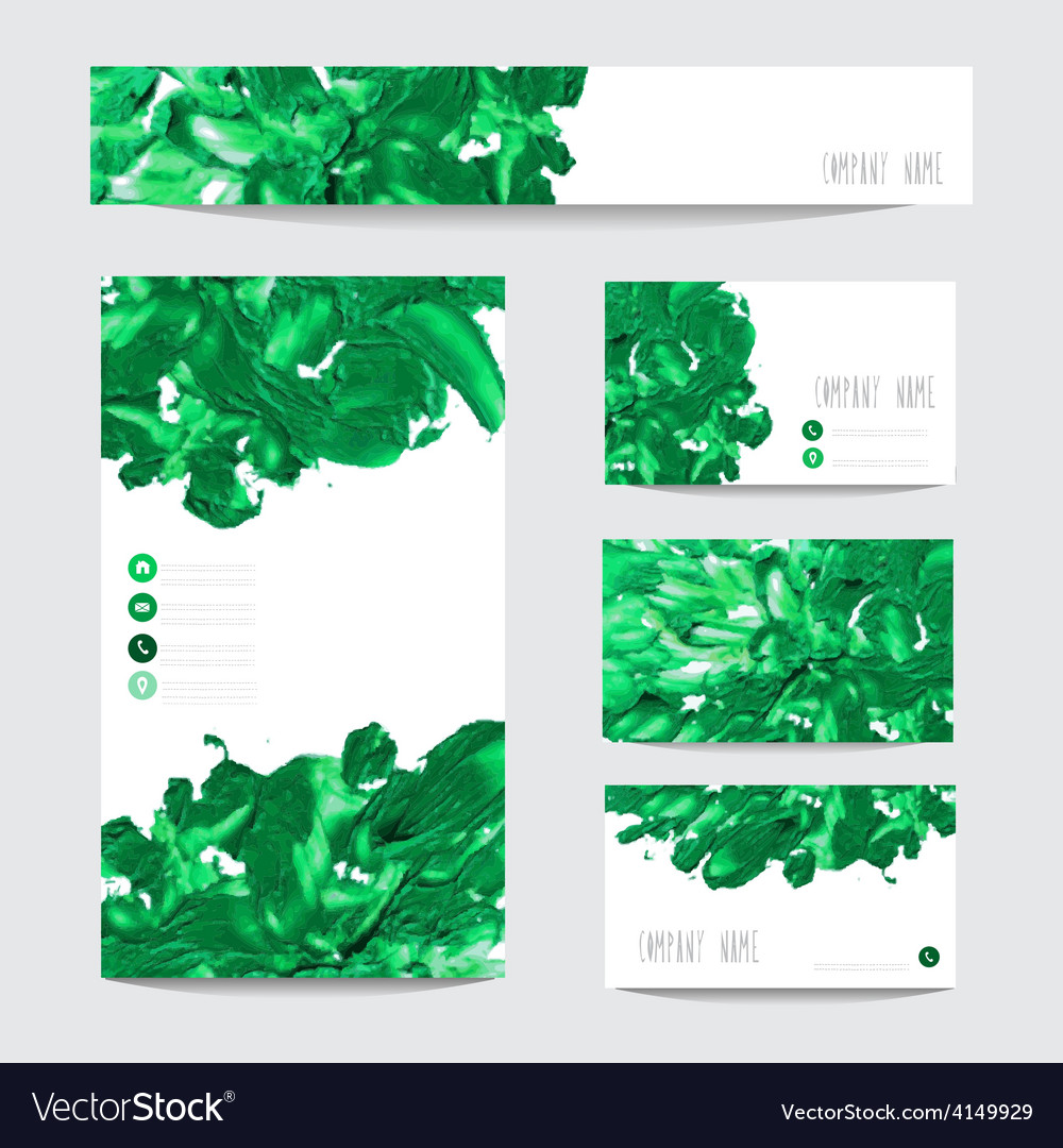 Oil painted business cards vector | Price: 1 Credit (USD $1)