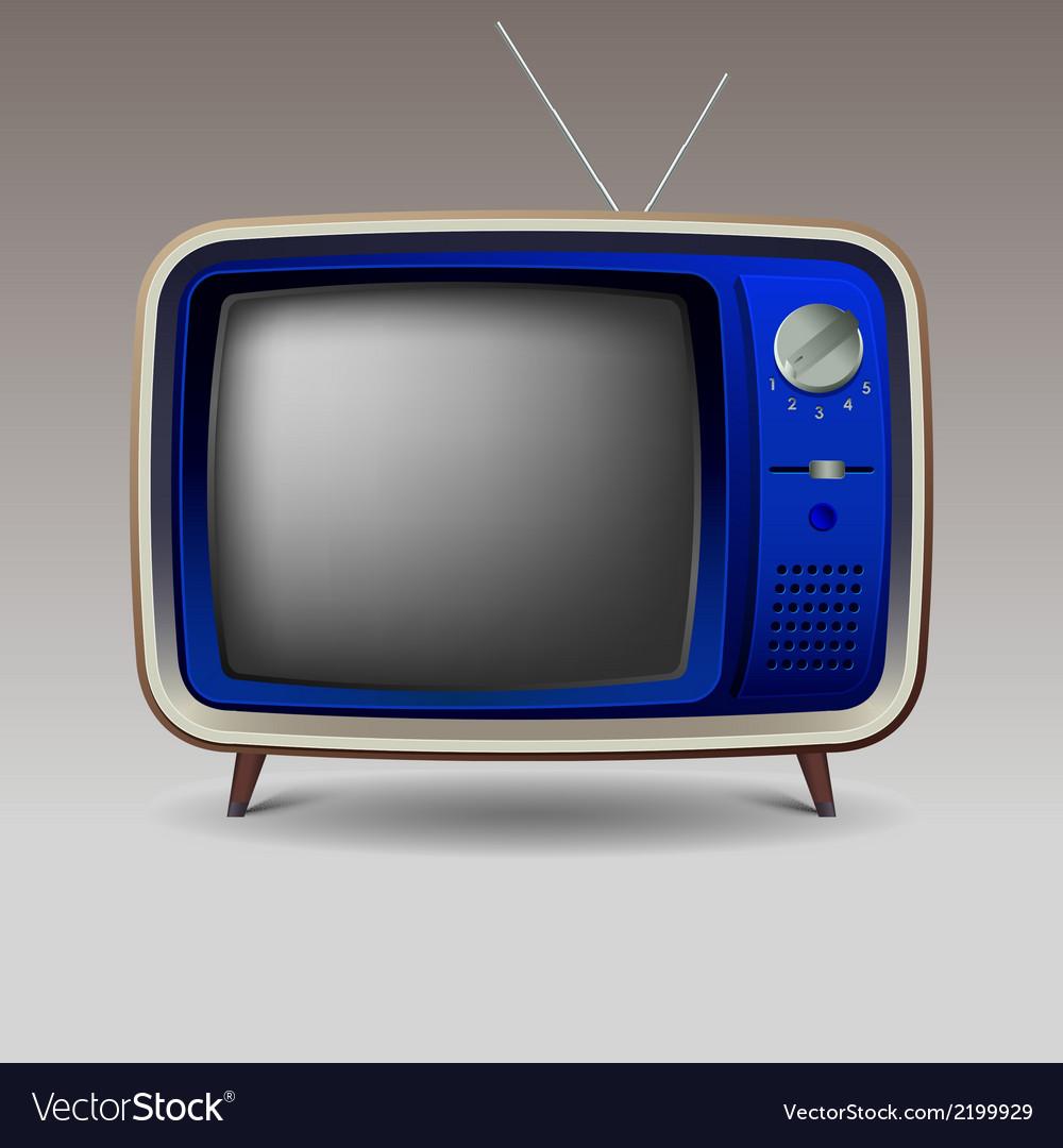 Old blue retro television vector | Price: 1 Credit (USD $1)