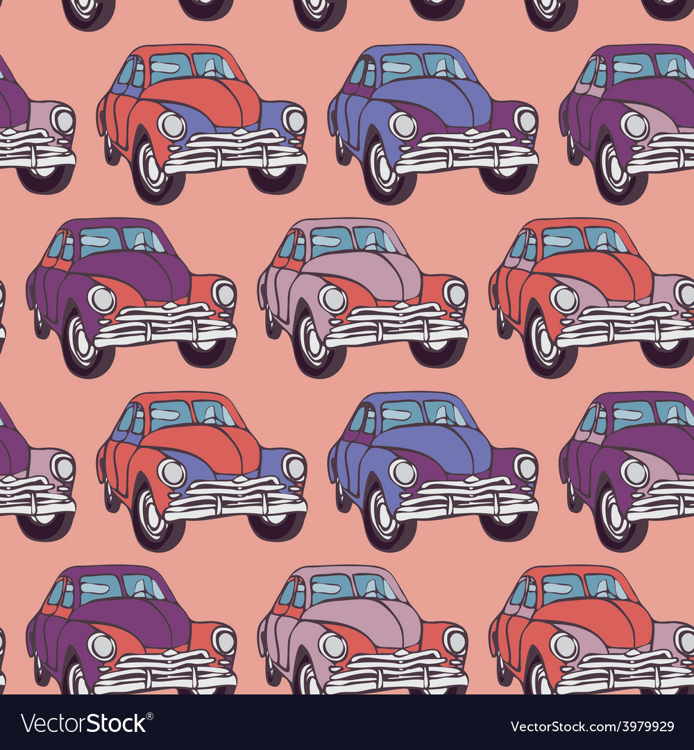 Seamless car pattern sketch pink lilac purple vector | Price: 1 Credit (USD $1)