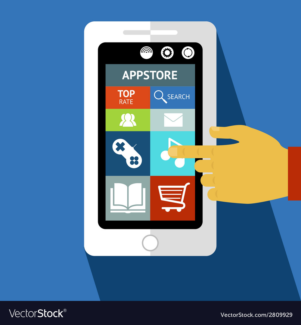 Smart phone or tablet with icons vector | Price: 1 Credit (USD $1)