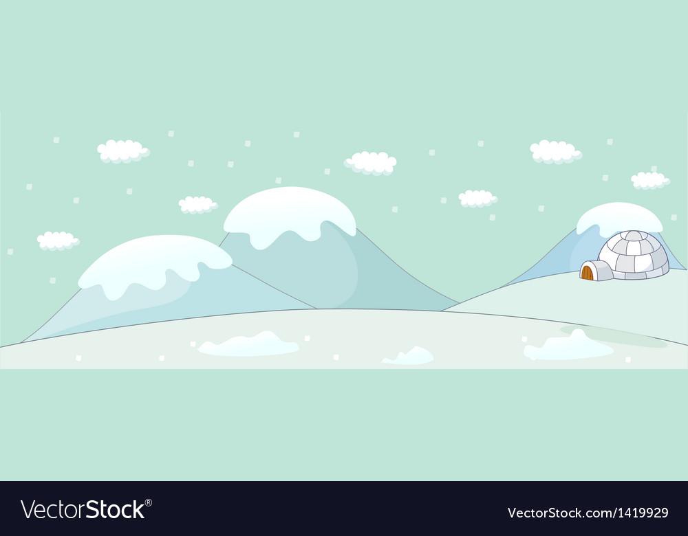 Snow igloo scene vector | Price: 1 Credit (USD $1)