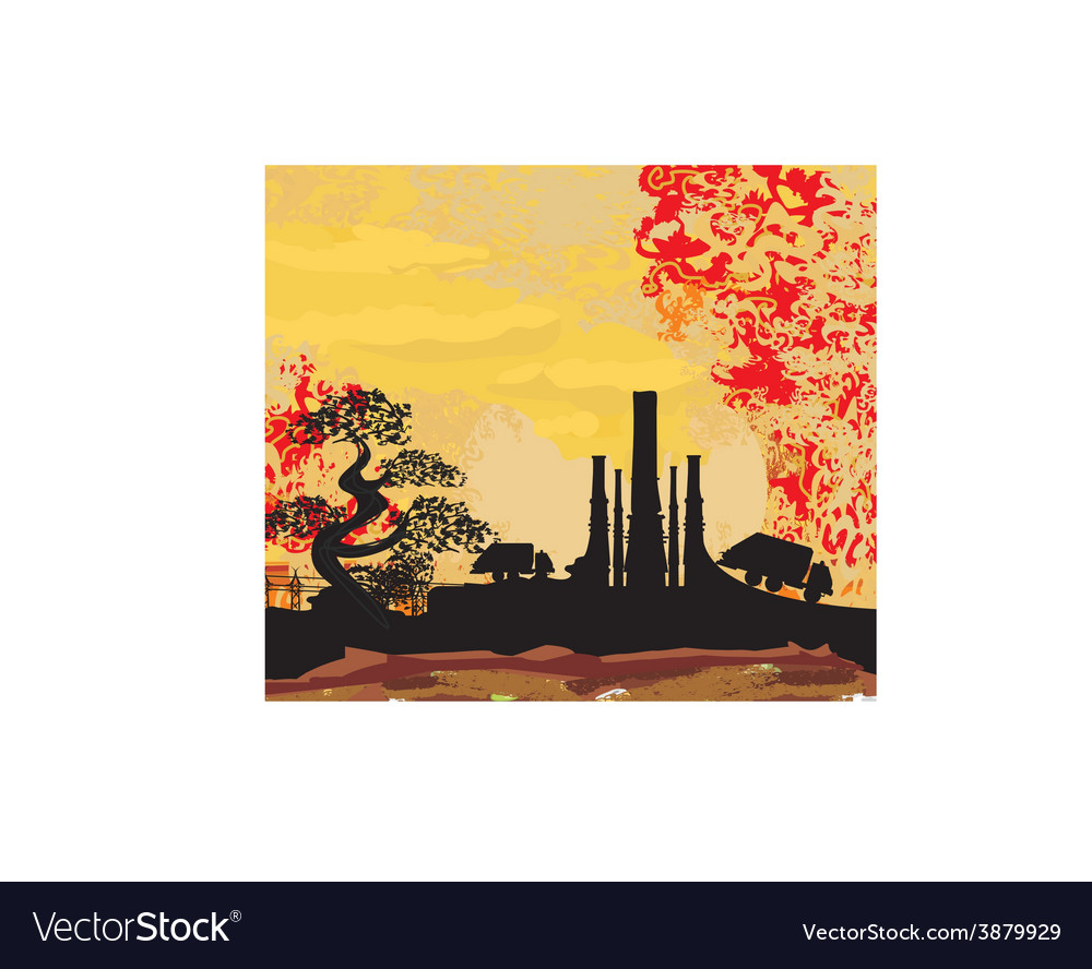 Thick smoke coming out of factory chimney vector | Price: 1 Credit (USD $1)