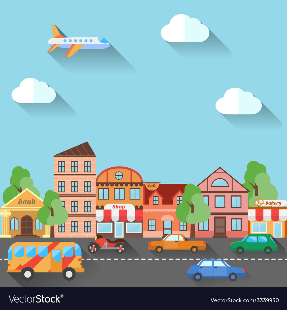 A town street made in flat design vector | Price: 1 Credit (USD $1)