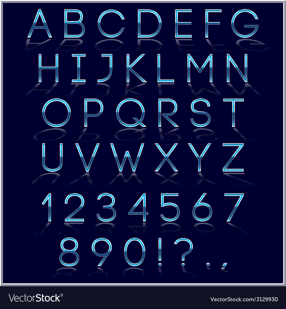 Blue alphabet letter digits and punctuation signs vector | Price: 1 Credit (USD $1)