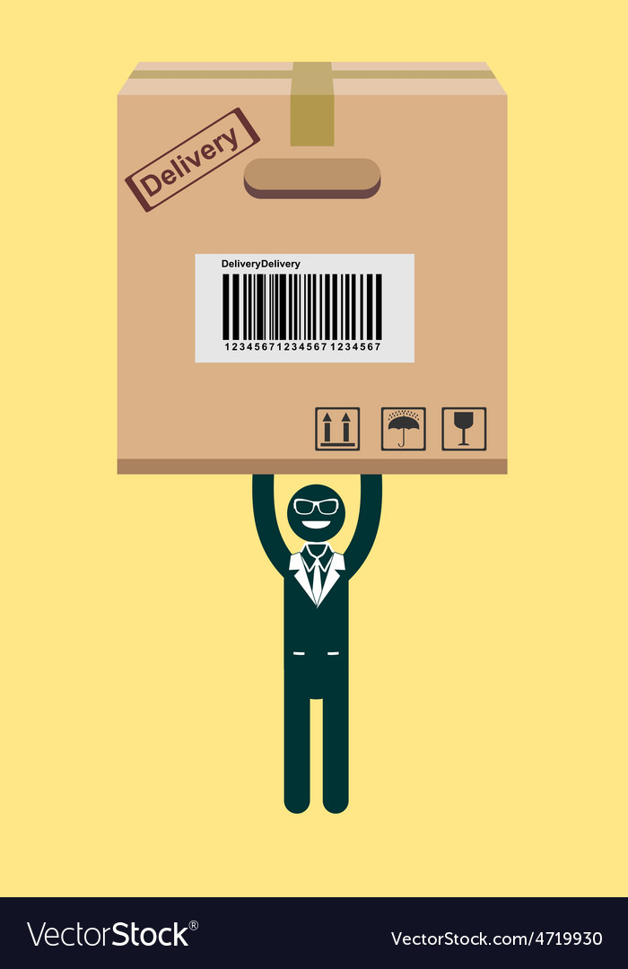 Businessman holding a package vector | Price: 1 Credit (USD $1)