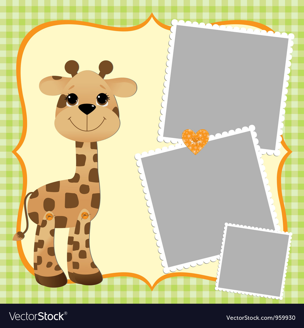 Cute teplate for postcard with giraffe vector | Price: 1 Credit (USD $1)