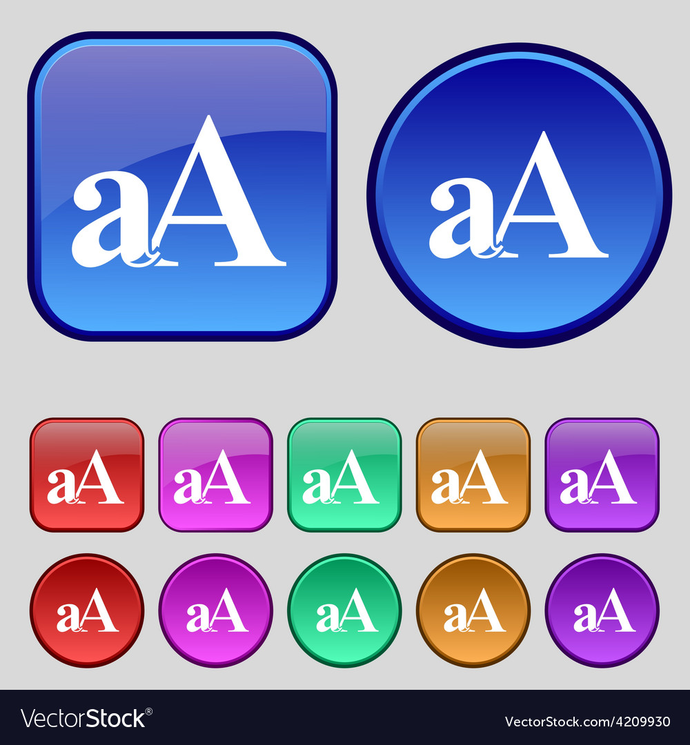 Enlarge font aa icon sign a set of twelve vintage vector | Price: 1 Credit (USD $1)