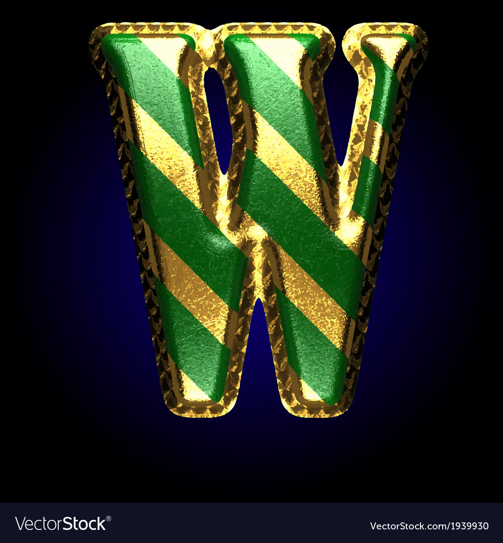 Golden and green letter w vector | Price: 1 Credit (USD $1)
