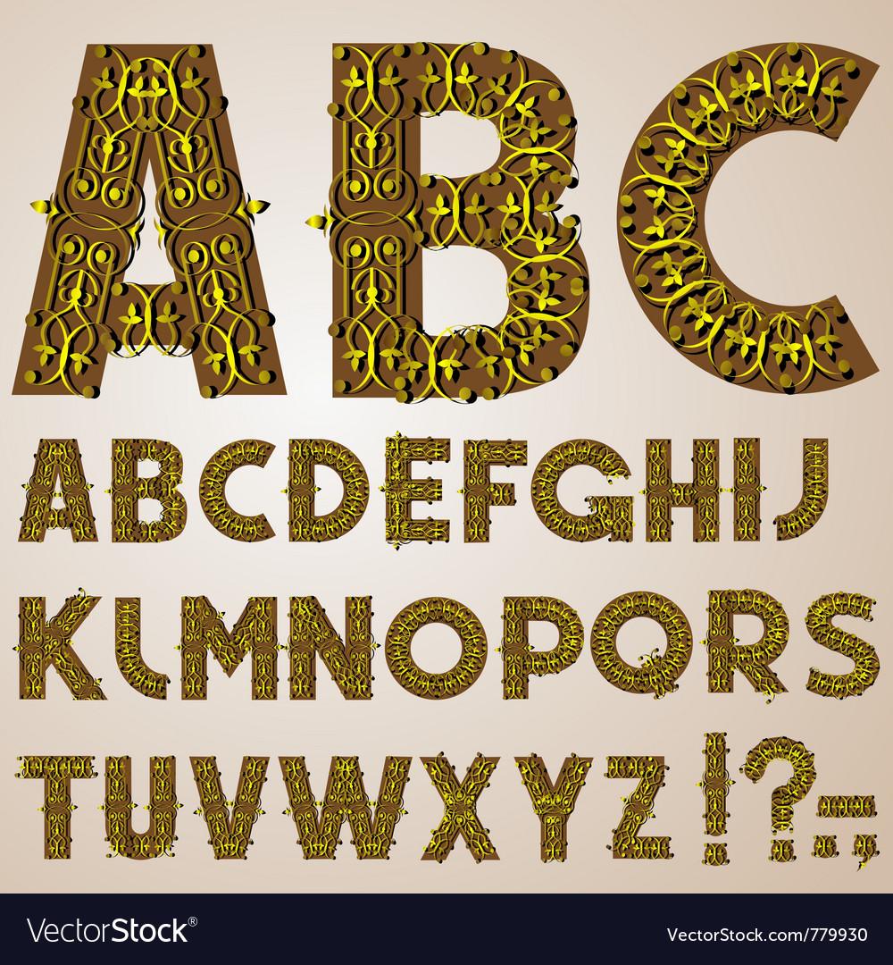 Golden swirly alphabet vector | Price: 1 Credit (USD $1)