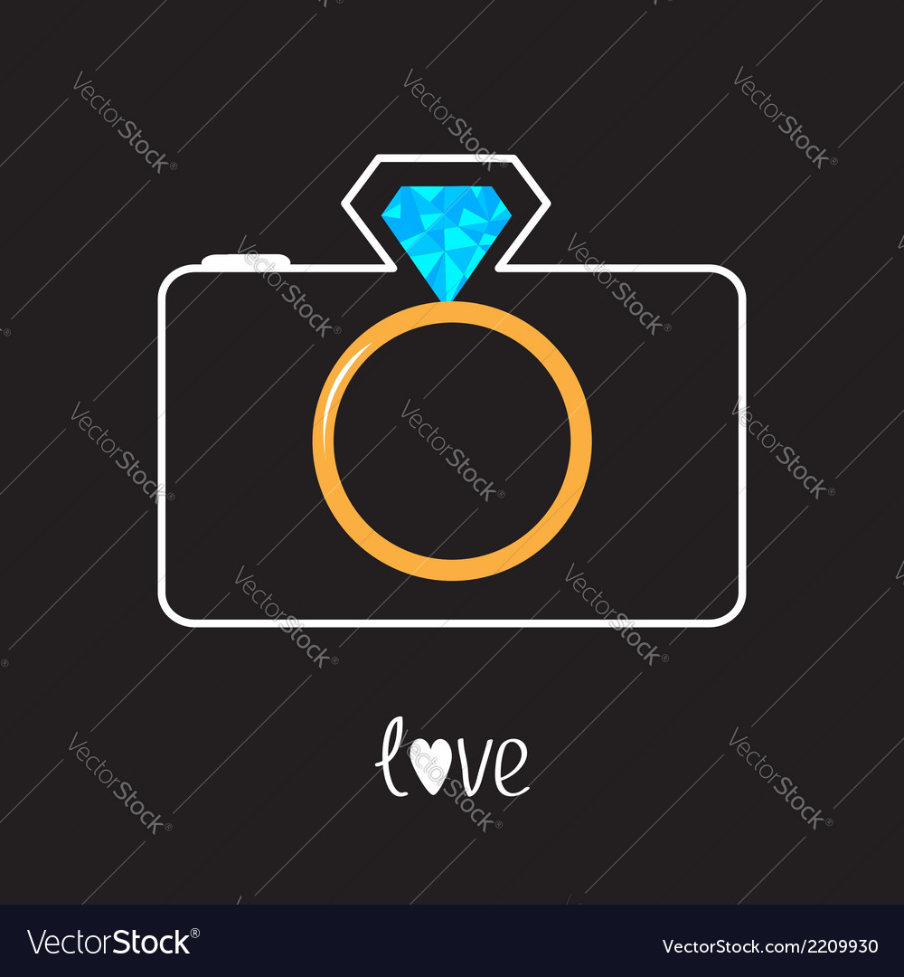 Photo camera and gold wedding ring lens diamond vector | Price: 1 Credit (USD $1)
