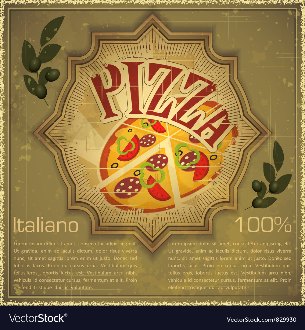 Pizza on grunge background vector | Price: 3 Credit (USD $3)