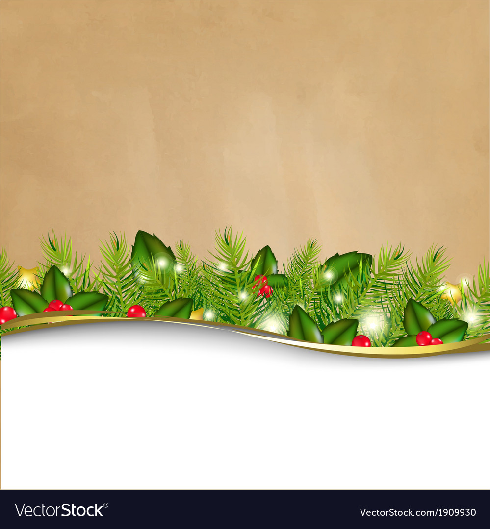 Retro background and fir tree border and paper vector | Price: 1 Credit (USD $1)