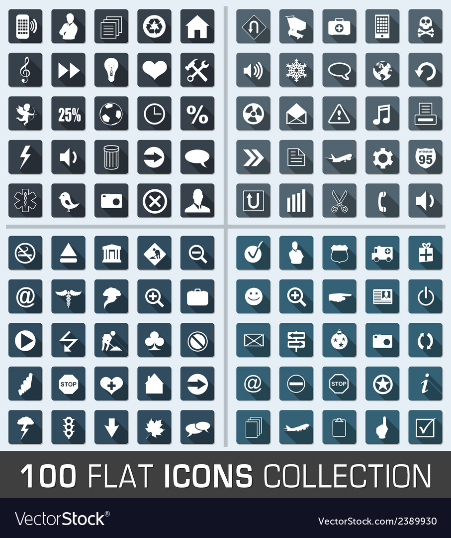Set of 100 universal flat modern icons vector | Price: 1 Credit (USD $1)