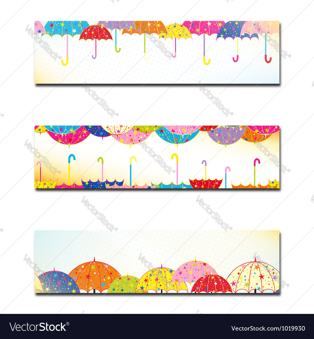 Set of colorful umbrella autumn rain banner vector | Price:  Credit (USD $)