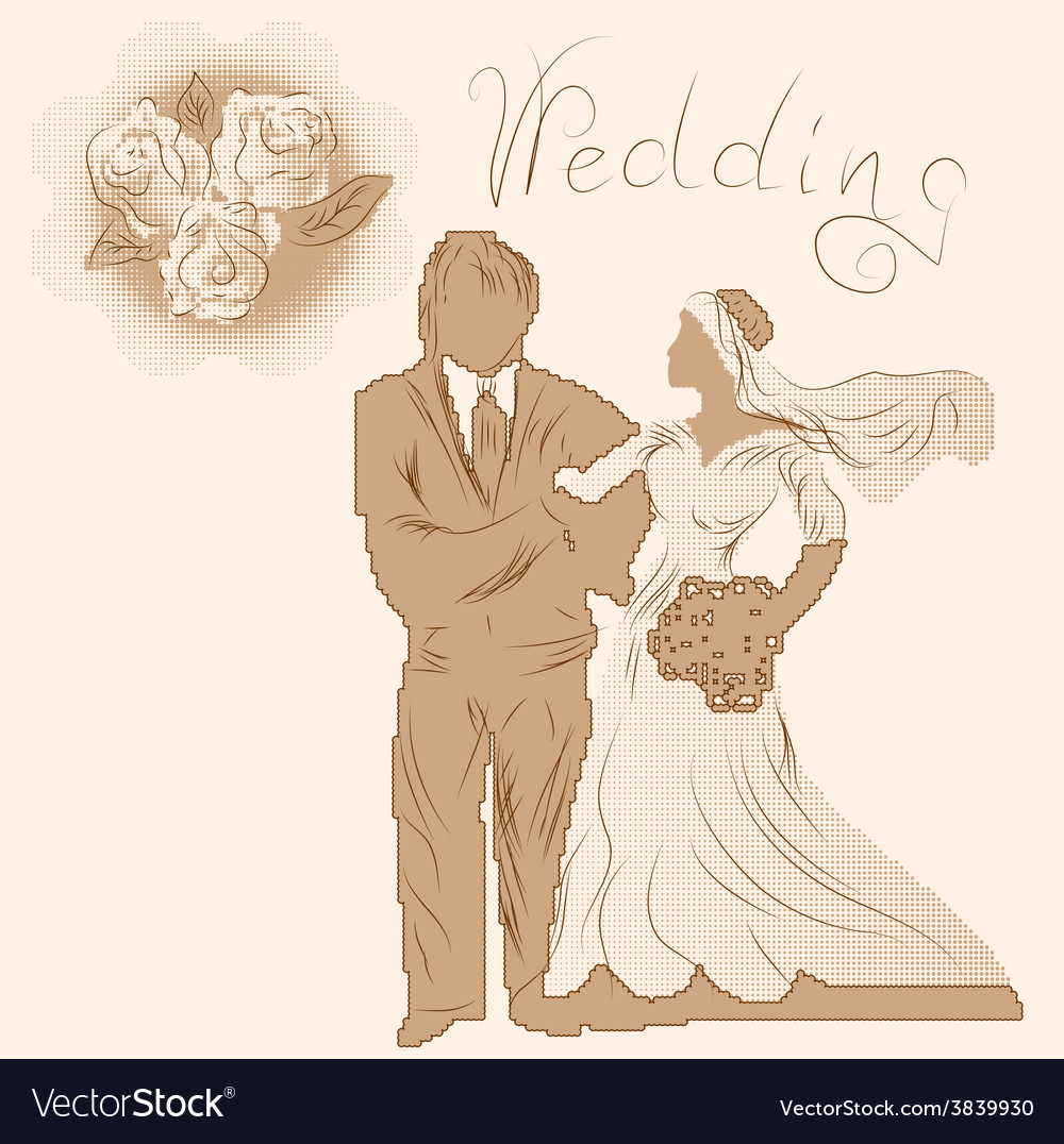 Wedding silhouette and flowers vector | Price: 1 Credit (USD $1)