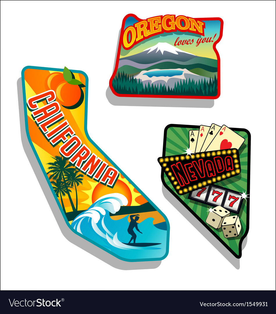 California nevada oregon retro vector