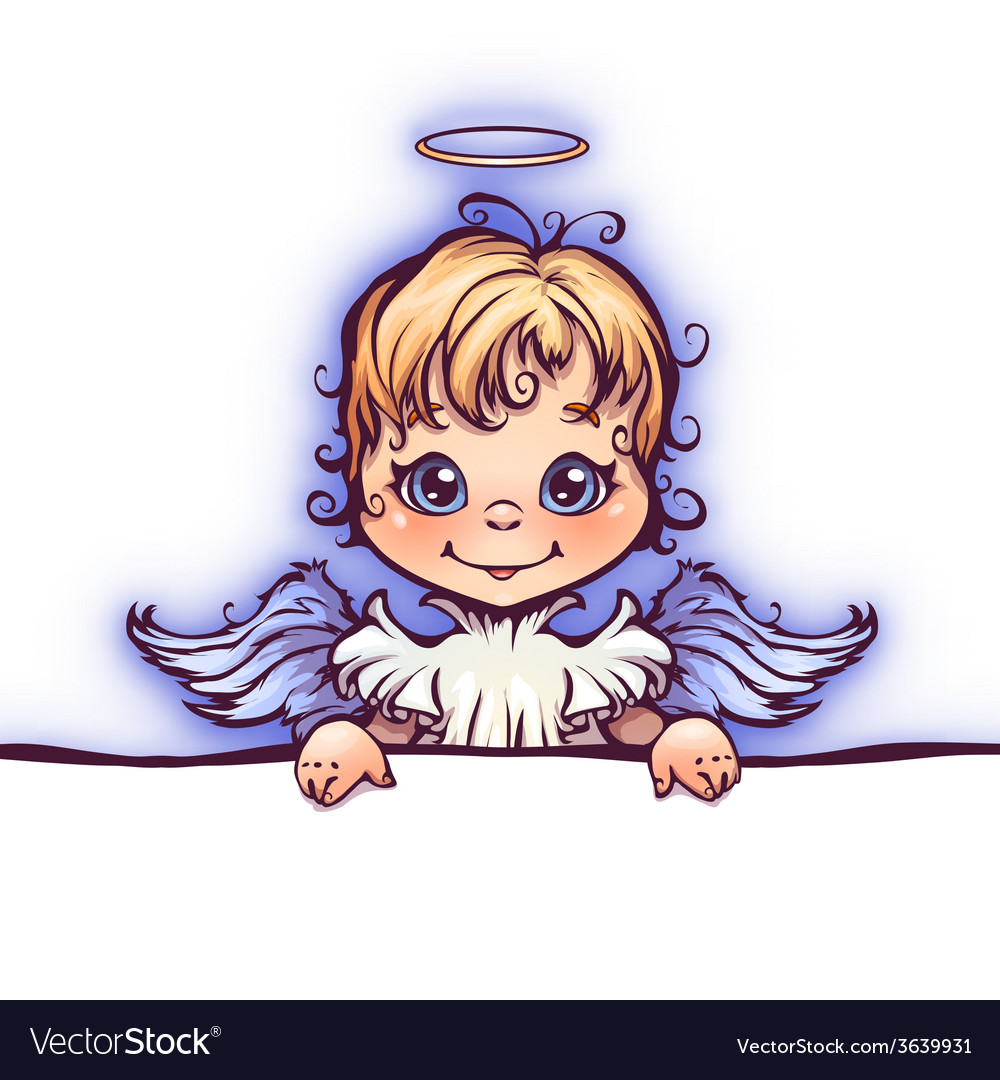 Cute angel with panel for text vector | Price: 3 Credit (USD $3)