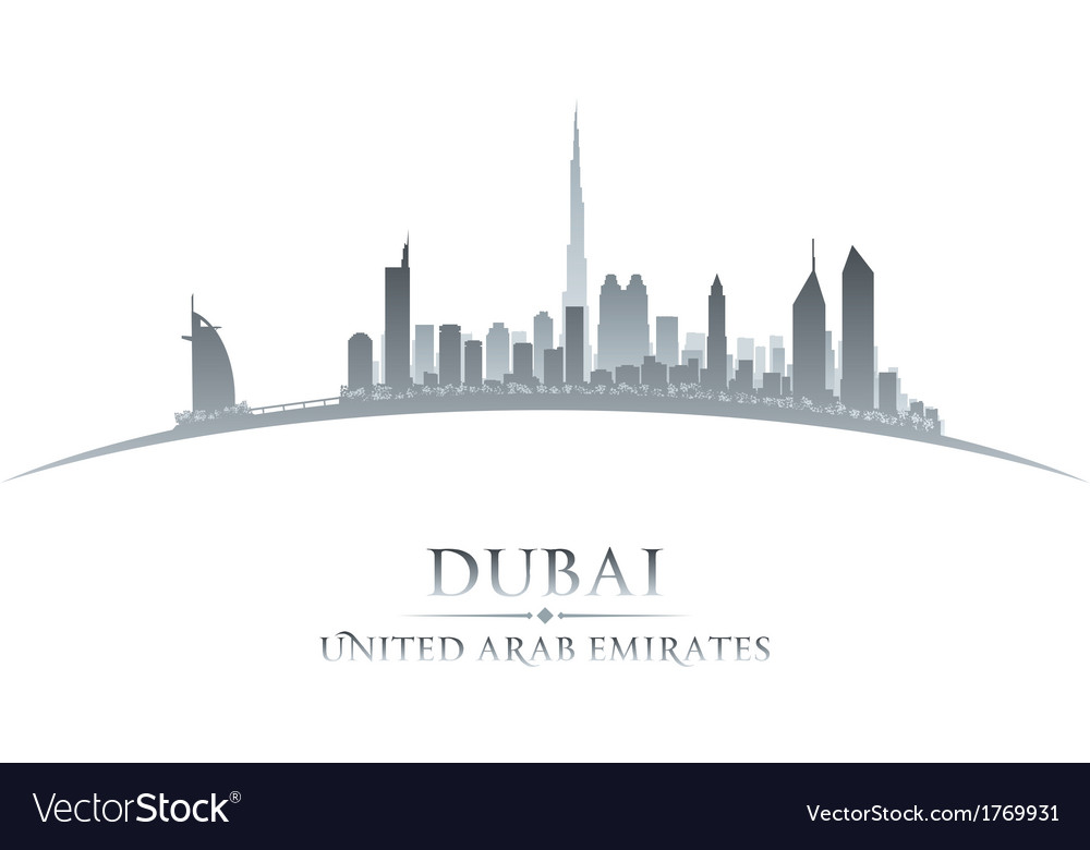 Dubai uae city skyline silhouette vector | Price: 1 Credit (USD $1)