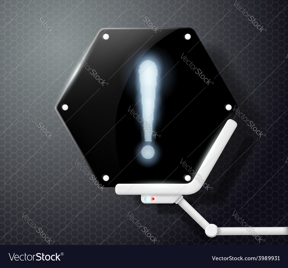 Exclamation point on futuristic screen honeycombs vector | Price: 1 Credit (USD $1)
