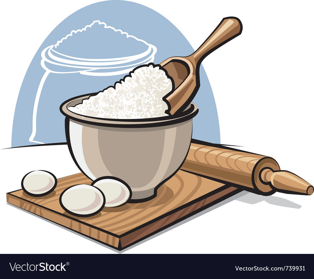 Flour in bowl with eggs vector | Price: 3 Credit (USD $3)