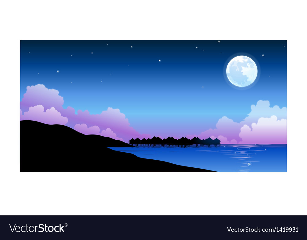 Full moon over peaceful water landscape vector | Price: 1 Credit (USD $1)