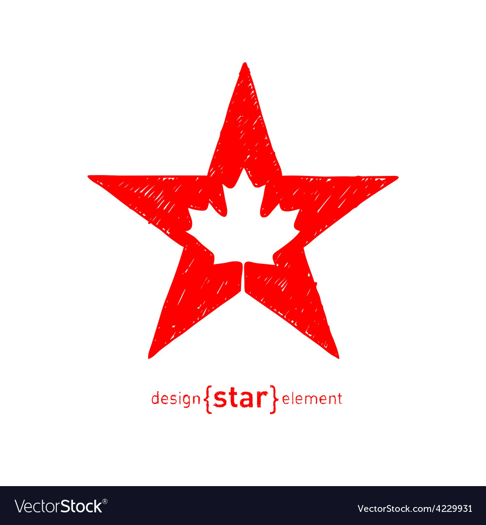 Hand draw star with canadian maple leaf vector | Price: 1 Credit (USD $1)