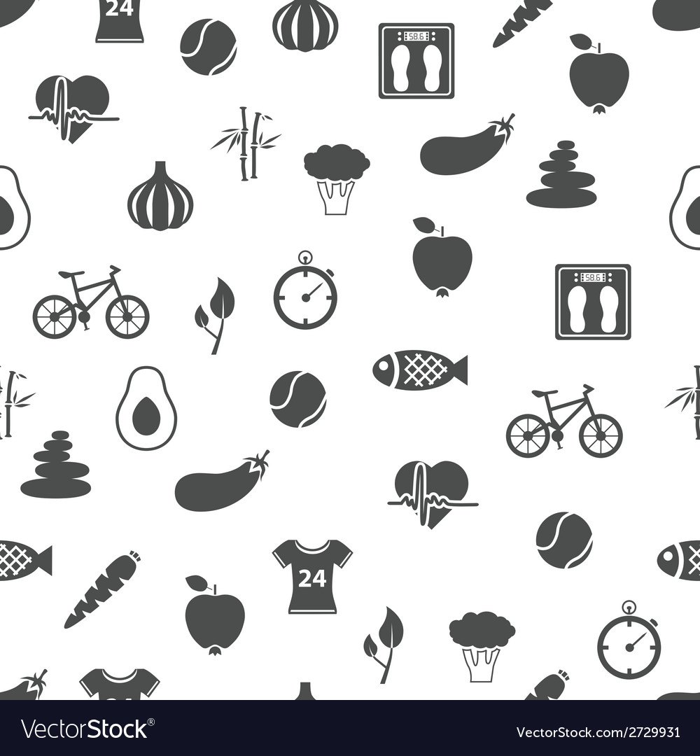 Health lifestyle seamless pattern vector | Price: 1 Credit (USD $1)