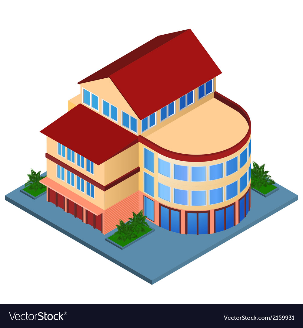 Modern building isometric vector | Price: 1 Credit (USD $1)