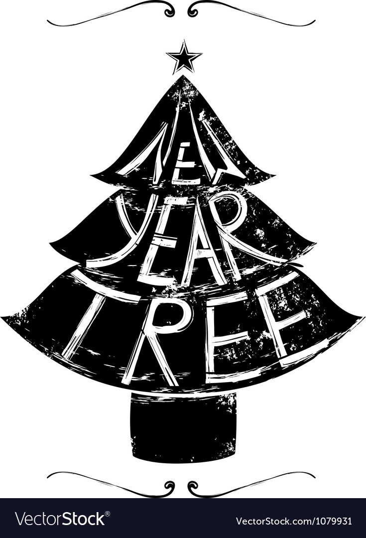 New year tree retro lettering vector | Price: 1 Credit (USD $1)