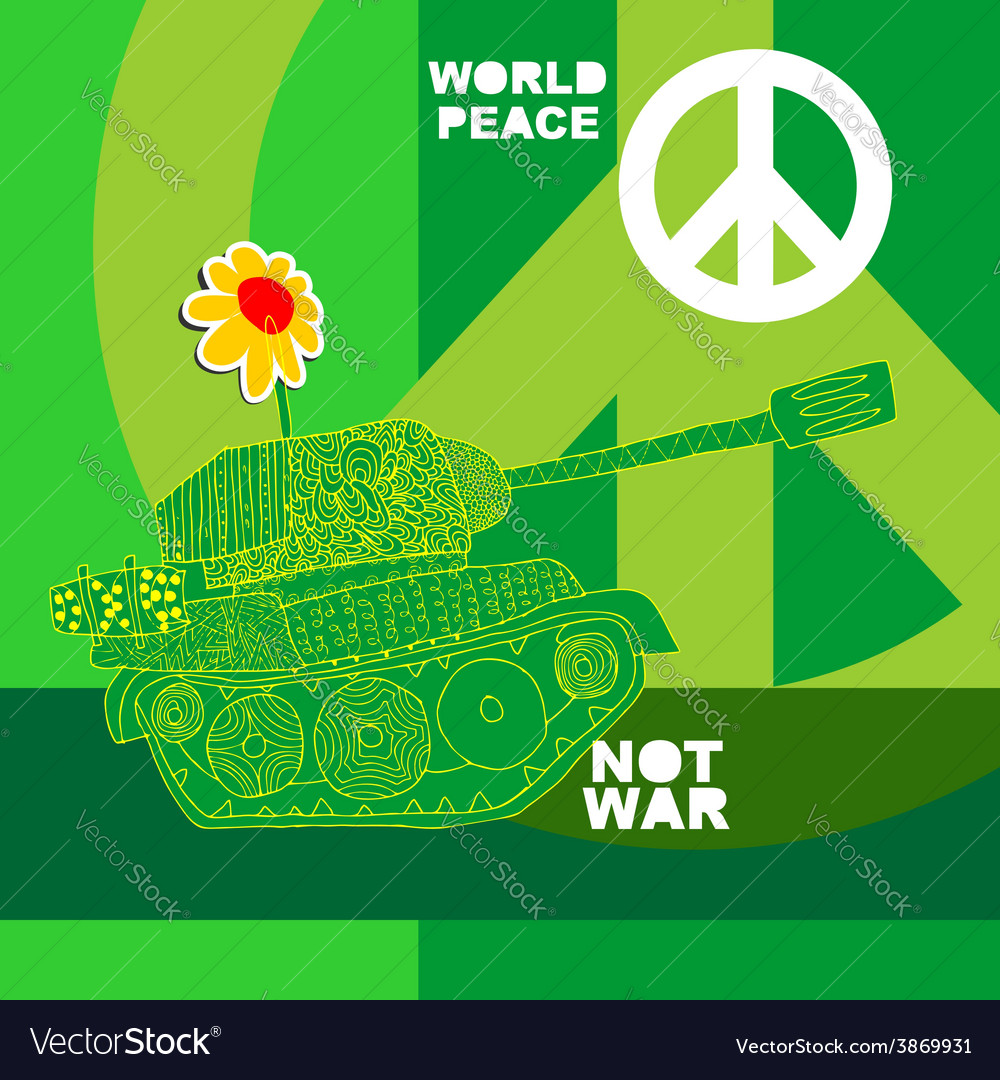 No war postcard poster hippie background world vector | Price: 1 Credit (USD $1)