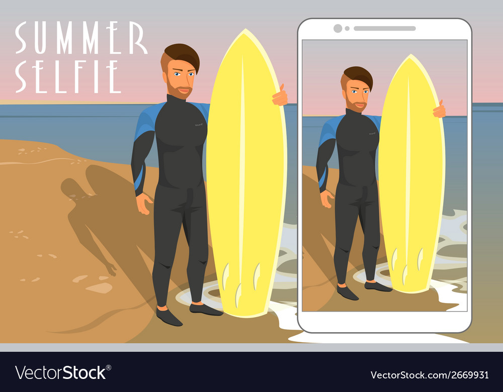Selfie of hipster wearing diving suit with yellow vector | Price: 1 Credit (USD $1)
