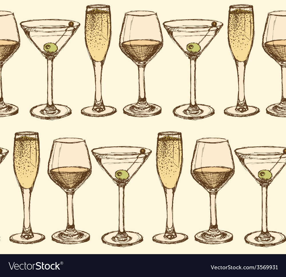 Sketch martini champagne and wine glass in vintage vector | Price: 1 Credit (USD $1)