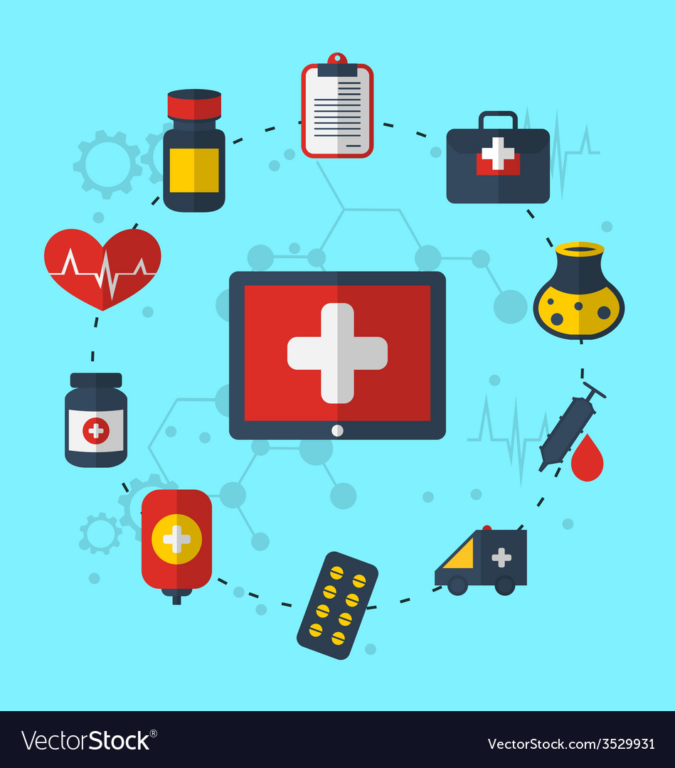 Tablet pc with medical icons for web design modern vector | Price: 1 Credit (USD $1)