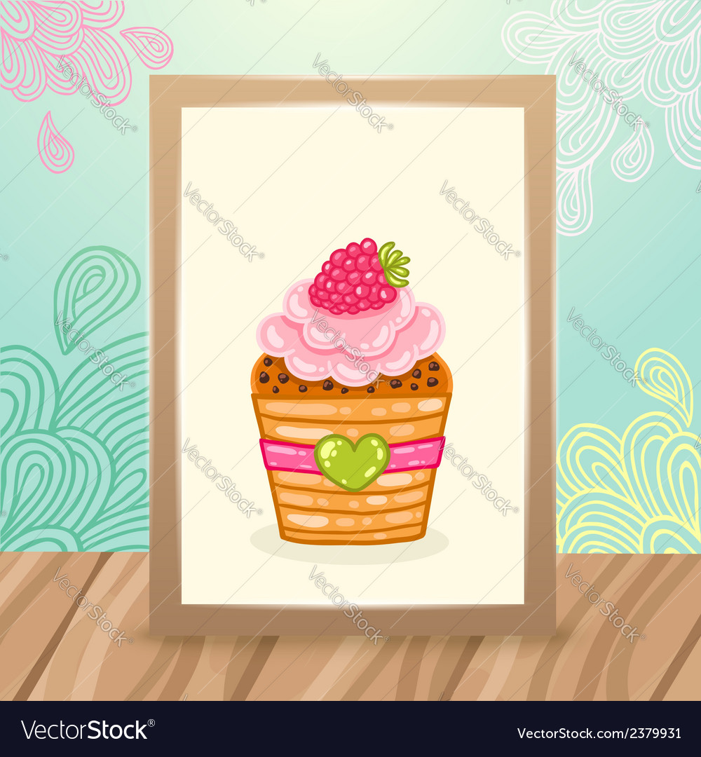 Wood frame on the desk with doodles and cupcake vector | Price: 1 Credit (USD $1)