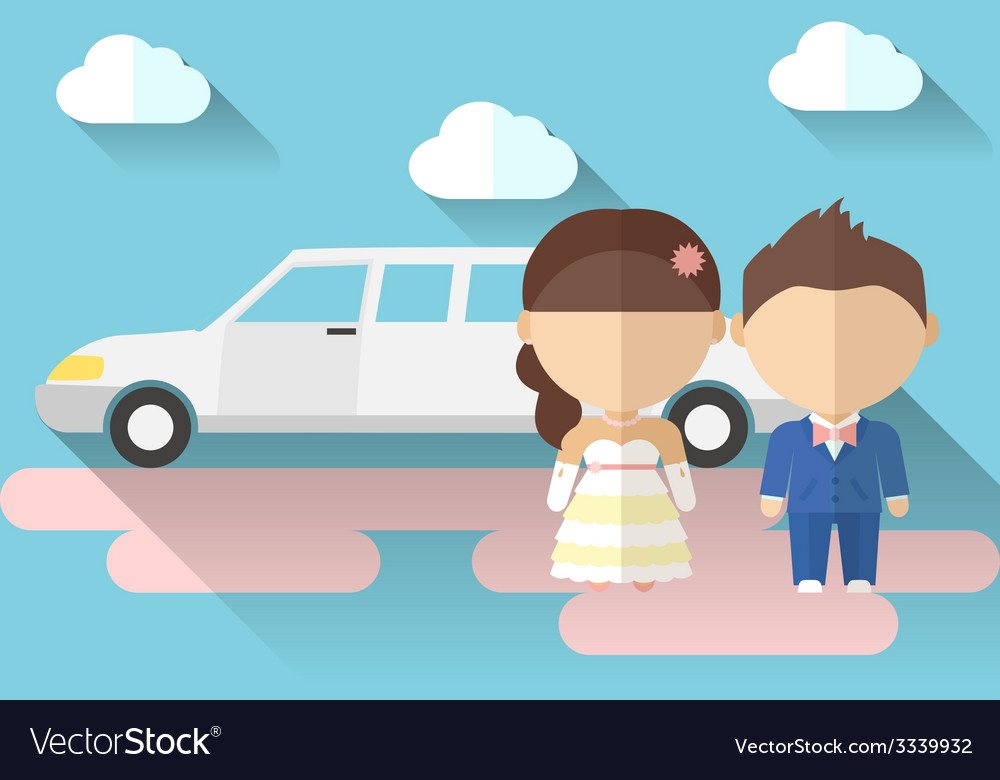 A bride and groom with limousine made in flat vector | Price: 1 Credit (USD $1)