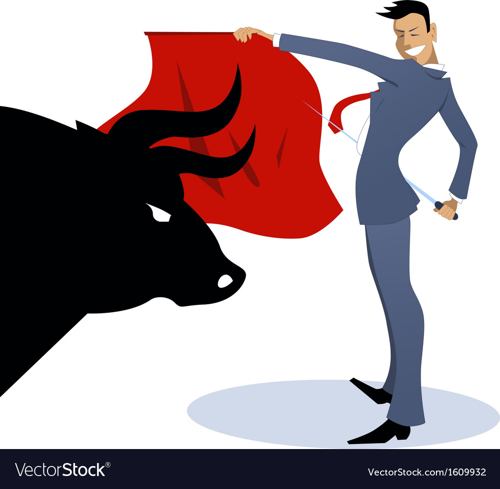 Businessman torero fighting a bull vector | Price: 1 Credit (USD $1)