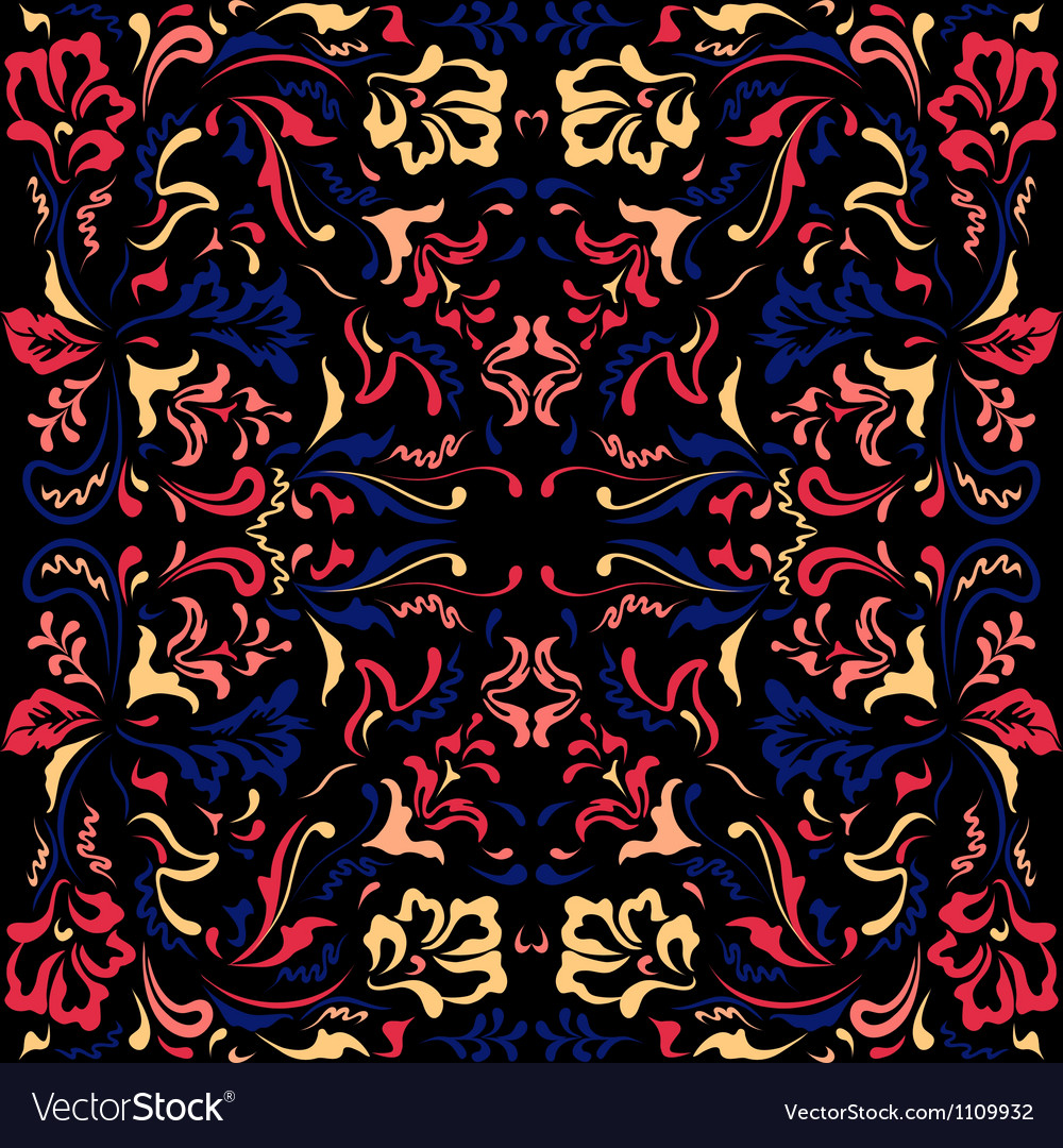 Color pattern with floral motifs vector | Price: 1 Credit (USD $1)