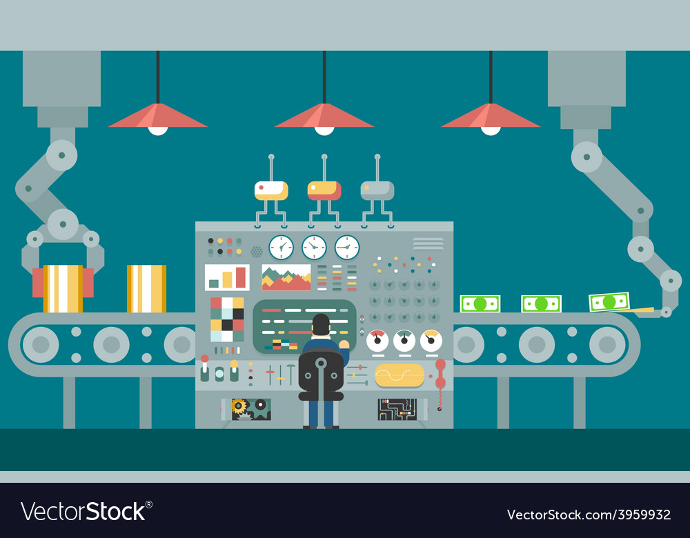 Conveyor robot manipulators work businessman in vector | Price: 1 Credit (USD $1)