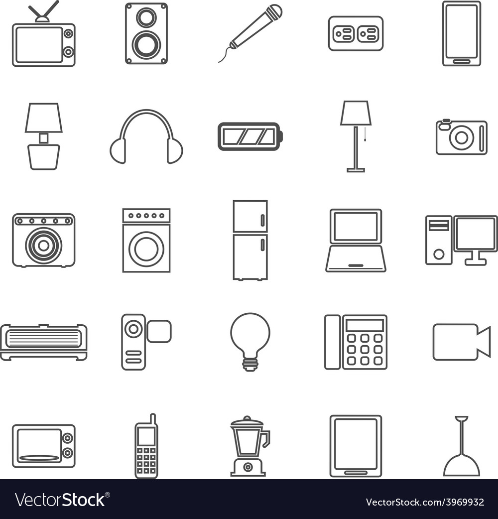 Electrical machine line icons on white background vector | Price: 1 Credit (USD $1)