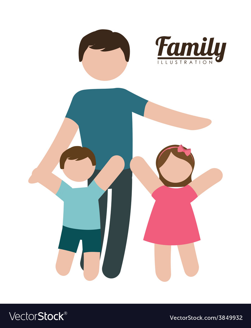 Family silhouette vector | Price: 1 Credit (USD $1)